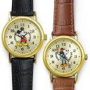 【Disney】ミッキー & ミニー マウス ラウンド ウォッチ 革ベルト腕時計
