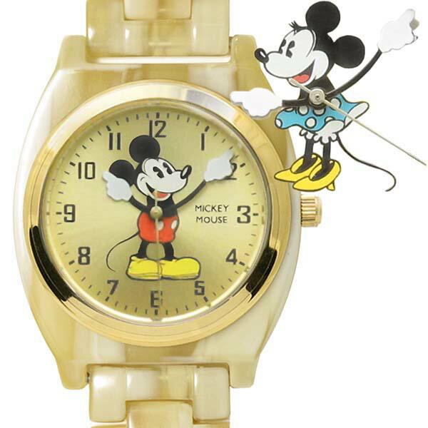 【レビューでお得!!】Disney [ミッキーマウス][ミニーマウス]アイボリー アセテート ウォッチ
