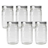 ■レビューでお得!!■BALL【ボール】Mason Jar メイソンジャー 32oz ワイドマウス ガラス保存瓶 (940ml) 6本セット