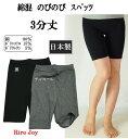レギンス 3分丈 日本製 レディス 綿素材 伸縮性抜群 M〜L/JM〜JL 黒/チャコール