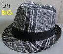 5586130■2a9w2 帽子 BIGsize 2color BIGサイズ 大きいサイズ グレンチェック 中折れ ハット ウール 秋 冬 チェック サイズ調整