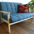 Bateau 2P sofa /ソファー/2人掛け/布張り/ファブリック/木製フレーム/北欧/カフェ/青/ビンテージ/布/ 【あす楽対応】