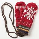 ベーシックエンチ ニットの紐付き手ぶくろ フワスノーミトン グローブ ノルディック 雪柄 レディース 女性用 通販 プレゼント もこもこ..