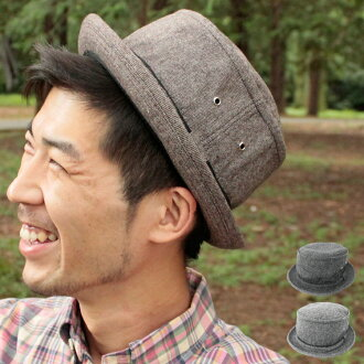 Pork pie, three colors of pork pie ◎ development - Tweed Pork Pie Hat (tweed pork pie) [BASIQUENTI-ベーシックエンチ] of the tweed cloth which is slightly bigger big size / Shin pull where are familiar in hat, hat pork pie New York hat