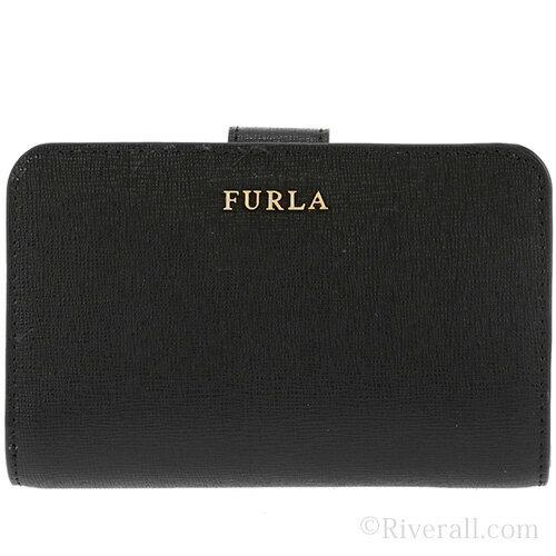 フルラ 財布 FURLA 二つ折り財布 BABYLON M レディース ブラック/ONYX レザー 872836 アウトレット店買付