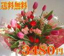 チューリップ&スイトピー&春の花 花束【楽ギフ_メッセ】