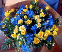父の日 黄色のバラ&マリンブルー花束/送料無料...
