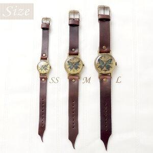 GothicLaboratory世界一美しい蝶モルフォ蝶の腕時計SSアンティーク腕時計レディースかわいい革ベルト手作りゴールドお誕生日プレゼント【楽ギフ_包装選択】【楽ギフ_送料無料】