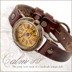 Mari Goto アンティークな腕時計 Calm SSGothic Laboratory 腕時計 アンティーク レディース かわいい 革ベルト 手作り ゴールド 人気 お誕生日 プレゼント 入学祝い 入社祝い【母の日 ギフト】【送料無料】 02P30May15