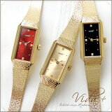 Vida+ 女士手表〈长方形〉(vidapurasu)手表女士可爱的 古董黄金奢华 镯子 chain belt 【音乐gifu包装选择】【音乐gifu 】【RCP】[Vida+ レディース腕時計 〈レクタンギュラー〉(ヴィーダプラス)腕時計 レディース