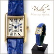 VIDA+ Mini Rectangular レディース腕時計 ブルー〈ビーダプラス ミニレクタンギュラー〉腕時計 レディース 革ベルト かわいい 時計 アンティーク ゴールド 入社祝い 誕生日 プレゼント ギフト 人気 おすすめ SHIPS nano universe 【送料無料】