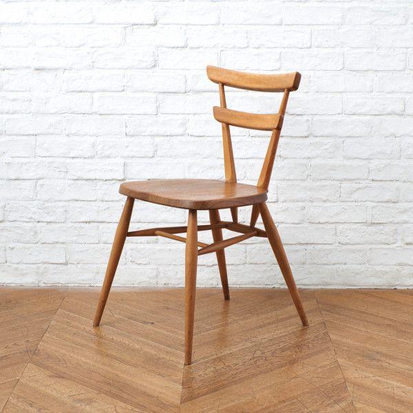 IZ41469I★超レア ERCOL スタッキングチェア 大人用 グリーンドット アーコール 英国 ヴィンテージ ダイニングチェア 木製 椅子 イギリス