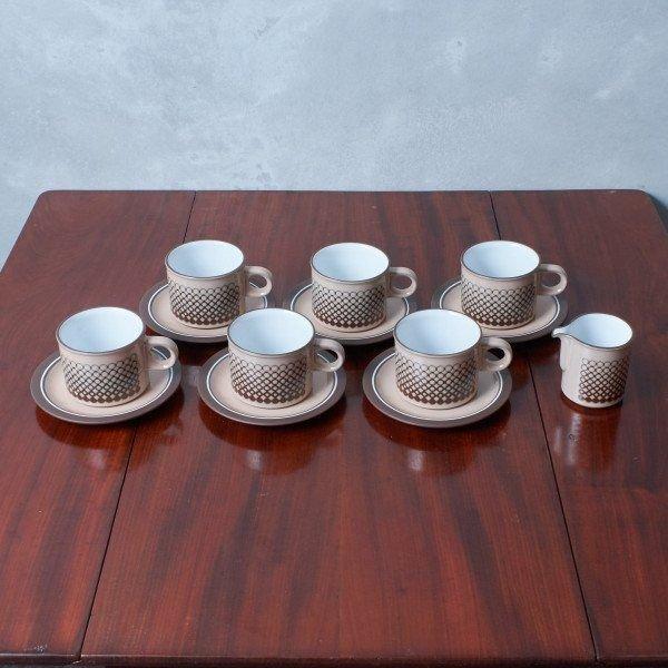 IZ42259Y★13点セット HORNSEA コーラル カップ&ソーサー6客 ジャグ イギリス ヴィンテージ ホーンジー CORAL 英国 陶器 食器 ビンテージ