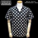 666  S/S  ドットシャツ  ブラック/ホワイトドット (23mm)