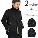 HONNETE(オネット) シングルPコート / イタリアンメルトン ウールコート ショートピーコート / メンズ / 2015年AWモデル / フランス製