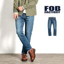 FOB FACTORY(FOBファクトリー) F1140 リラックス デニム 5Pパンツ / ユーズド加工 / ジーンズ / Gパン / コットンパンツ / スリム / メンズ / 日本製