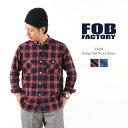 FOB FACTORY(FOBファクトリー) F3419 インディゴネルチェック ワークシャツ / 長袖 / コットン / メンズ / 日本製 / INDIGO NEL WORK ..