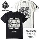 SMACK ENGINEER / スマックエンジニア「NATION SPADE TEE」Tシャツ 半袖 黒 白 ブラック ホワイト スカル ドクロ スペード バックプリント メンズ レディース ROCK PUNK ロック パンク バンド フェス ギフト ラッピング無料 ステージ衣装 Rogia