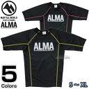【ALMA・アルマ】ラッシュガード BONE S/M/L/XL ブラック×イエロー/ブラック×ピンク ALR5 アンダーウェア MMA 総合格闘技 ブラジリアン柔術