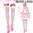 MusicLegs(ミュージックレッグス)リボン付きドットシアーサイハイストッキング/タイツ ML4659 ホワイト ピンク 白 メイド コスチューム..
