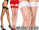 MusicLegs(ミュージックレッグ) ビッグダイアモンドネット レーストップサイハイストッキング/網タイツ 4925 黒 白 赤 ブラック ホワイト レッド...