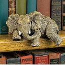 かわいい手乗り(アフリカ)ゾウ デスクトップ 本棚彫刻 彫像 インテリアアクセント /African Elephant Desktop Book Shelf Sculpture(輸入品