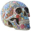 デッドシュガーの日 カラフルな花飾りの頭蓋骨 彫像 彫刻/ Day of The Dead Sugar Skull Colorful Floral Skull Statue(輸入品
