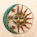 屋内または屋外使用、ブラウン色の芸術的な太陽と月(サン&ムーン)メタルウォールアート 彫刻 彫像/ Collections Etc Artistic Sun And Moon Metal Wall Art for Indoor or Outdoor Use, Brown(輸入品