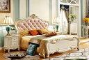ワイドダブルサイズ!彫刻付高級ベッド(マットレスなし)