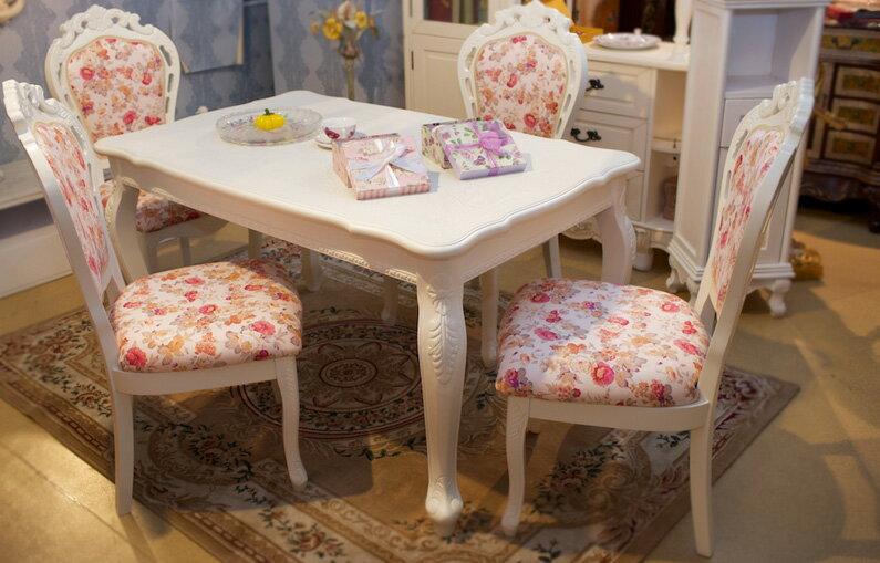天然木製ホワイトダイニングテーブル