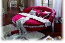 円形ベッド・円形本革ベッド(マットレス付き)