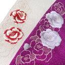 半衿 刺繍 正絹 振袖 日本製 砂子 薔薇 成人式 結婚式 フォーマル 美品 T11 k902r