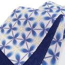 夏 半幅帯 麻 雪花 小袋帯 日本製 染帯 亀甲花菱 仕立て上がり カジュアル 浴衣 夏着物 白地 青 a510