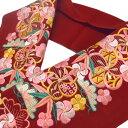 半衿 振袖 刺繍 ねじ梅に松竹梅 フォーマル 成人式 03501721 No.4 臙脂 桜色 b866r