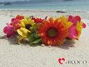 【ヘッドドレス】オレンジイエローピンクハクレイ花冠 花かんむりウエディング ウェディング オレンジ 結婚 式 ブレスレット グリーン ヘアア...