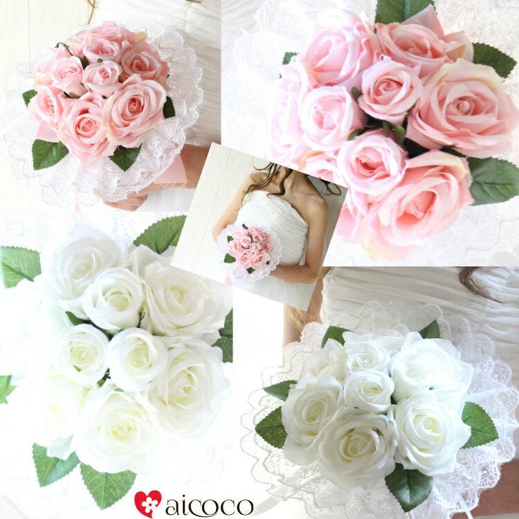 造花 ブーケ ブートニア ウエディングブーケ ブ...の商品画像