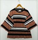 SHAREEF シャリーフ オーバーシルエットボーダーT SIZE:L 茶色 ボーダー Tシャツ メンズ 【中古】【ドメスティック】【金沢本店 併売品】【6500861Kz】