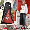 RomelCheo チャイナ風 袴パンツ 刺繍 ガウチョ ワイド パンツ スカーチョ スカンツ キ