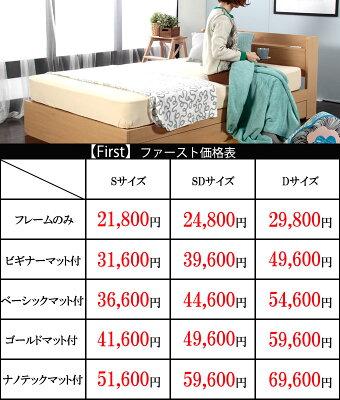 【エントリーで10倍】ベッド引き出し付き棚付きコンセント付きS/SD/Dベッドフレームファースト