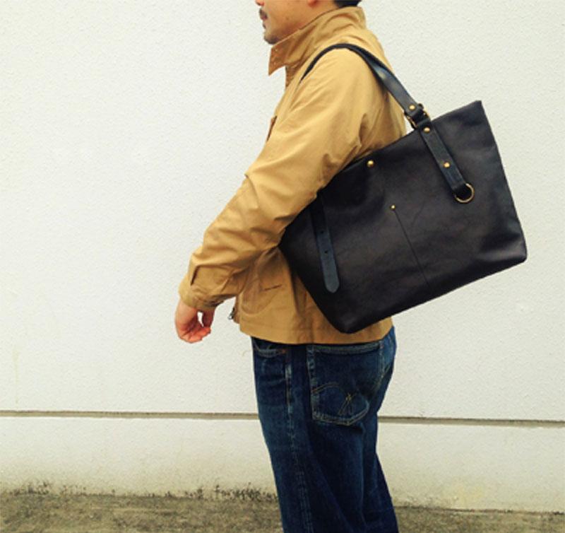 メンズ トートバッグ レザー 本革 JAPAN MADE 日本製 オリジナルデザイン 国産タンニンなめしレザー 国産牛革 国産レザー ブラック LT-01B