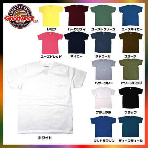 GOODWEAR グッドウェア Tシャツ クルーネック ポケットmade in USA 7.2oz アメリカ製 極厚生地 ポケT