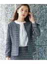 [Rakuten Fashion]【セットアップ対応】ノーカラーツイードジャケット ROPE' PICNIC ロペピクニック コート/ジャケット ノーカラージャケット ネイビー【送料無料】