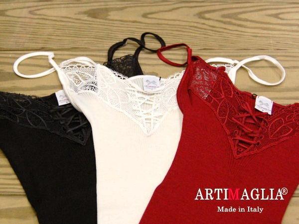 イタリア製 ウールシルクリブ編み クロスリボンキャミソールサイズMARTIMAGLIA アルティマリア 70801脇に縫い目のないインナー9000