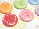 【ヨーロッパ製ボタン】ハートライン 丸ボタン 15mm 1個単位での販売です。60683