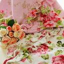薔薇のブランケットフリル付き マイクロファイバー フランネル ひざ掛け 薔薇雑貨姫系雑貨 毛布 花柄 かわいい バラ雑貨