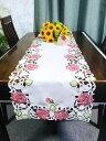 薔薇のカットワーク刺繍 テーブルランナー40X180cm ピンク色 新入荷