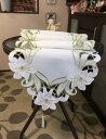 百合の花 カットワーク刺繍 テーブルランナー40X180cm グリーン 新入荷