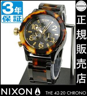 NIXON WATCH NA037679-00 42-20 Chrono ALL BLACK/TORTOISE