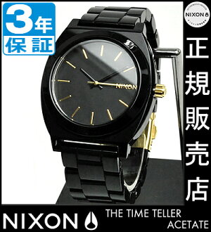 NIXON WATCH NA3271031-00 TIME TELLER ACETATE ALL BLACK/GOLD