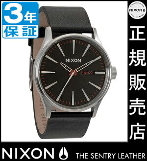 NIXON WATCH NA105000-00 SENTRY LEATHER BLACK